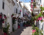 Typical street scene in the heart of the old town in Estepona. Spanish So Simple Classes in Estepona and Marbella